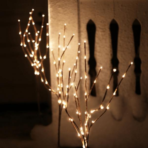 3er Set LED-Lichtbäume -je 40x warmweiße Micro-LED - H: 90cm - Trafo - ganzjährige Gartendekoration