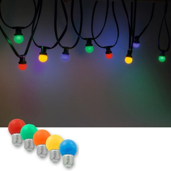 Illu-/Partylichterkette 10m | Außenlichterkette, 10 x bunte LED Lampe