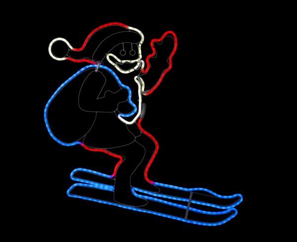 "LED Santa/Nikolaus on Ski ""Neoled"" - 300 bunte LEDs - ca. 72 x 60 cm - Outdoor Figur für Fassaden"