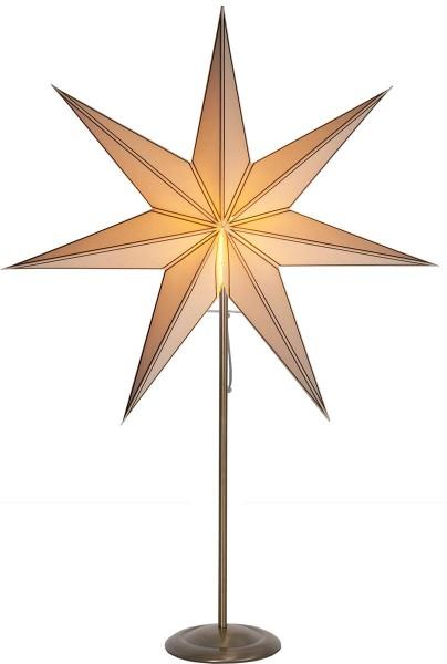 "Standleuchte Stern ""Nicolas"", E14 ca. 90 x 60 cm, Material: Metall/Papier Farbe: creme / gold ; Ständer: messing antik Vierfarb-Karton"