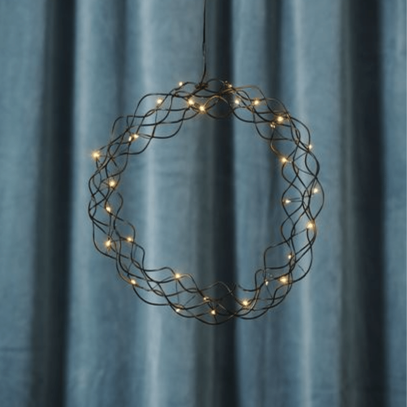 LED-Kranz Curly - 30 warmweisse LED - D: 30cm - Material: Metall - schwarz