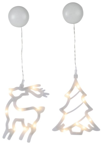 """LED-Fenstersilhouetten """"Sparky"""" - Baum und Rentier - 2er Set - je 8 warmweiße LED"""