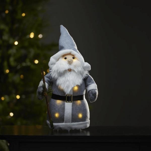 LED Stoff-Figur Weihnachtsmann - graue Mütze & Schal - 8 warmweiße LED - H: 38cm - Batteriebetrieb