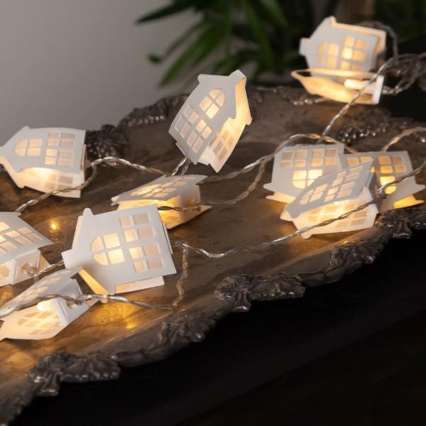 LED Lichterkette Papierhäuser - 16 warmweiß beleuchtete Papierhäuser - L: 2,25m - Batterie - weiß
