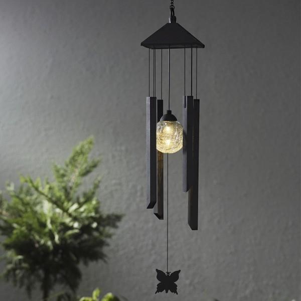LED Solar Windspiel Schmetterling - klare Kugel - warmweiße LED - Dämmerungssensor - outdoor