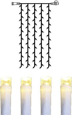System DECOR | LED Lichtvorhang | koppelbar | 1x2m | weißes kabel | 100 warmweiße LEDs
