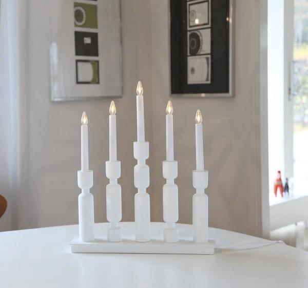 """Fensterleuchter """"Uddebo"""" - 5flammig - warmweiße LEDs - H: 44cm, L. 37cm - Schalter - Weiß"""