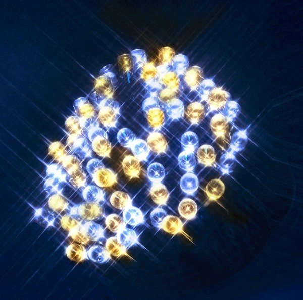 LED-Girlande | Serie LED | Outdoor | Schwarzes Kabel | warm- & kaltweiße LED gemischt | Controller | 1.20m | 192x LEDs