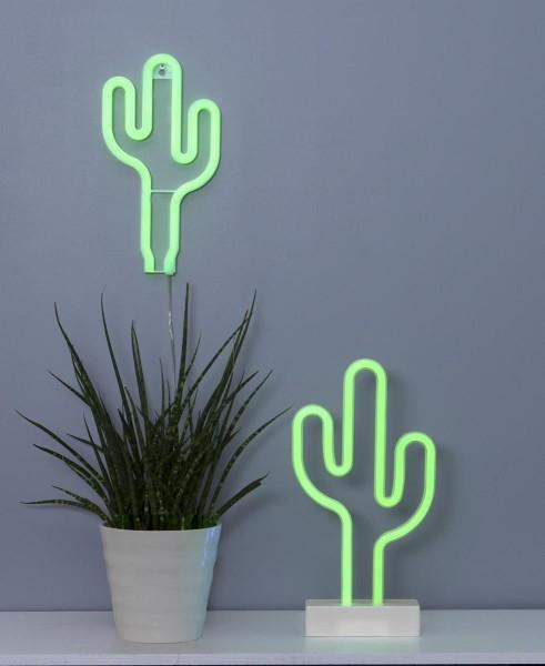 LED-Silhouette Neonlight grüner Kaktus - Wandmontage - 26,5cm x14cm - Batterie - Timer 1