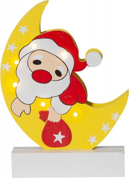 "LED-Fensterleuchter ""Freddy"", Weihnachtsmann auf Mond, 6 warmwhite LED, Material: Holz Farbe: bunt, ca. 25 cm x 18 cm Batterie, Timer, Vierfarb-Karton"
