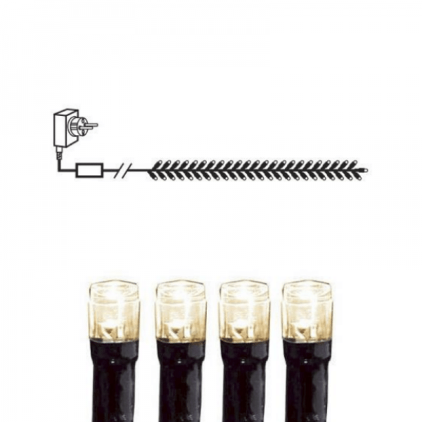 Lichtergirlande | Serie MICROLED 3mm | 2,3m | schwarzes Kabel | 384 warmweiße LEDs | Trafo