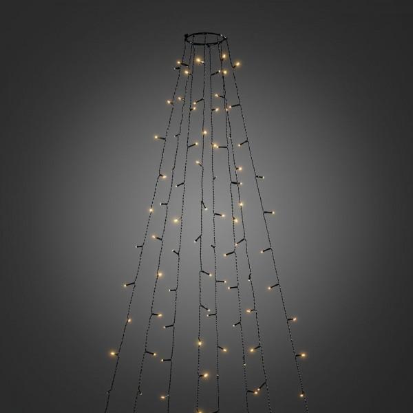 LED Baummantel Lichterkette - 8 x 2,4m - 8 Stränge mit jeweils 30 Ultra Warmweiß LEDs - Glimmereffekt
