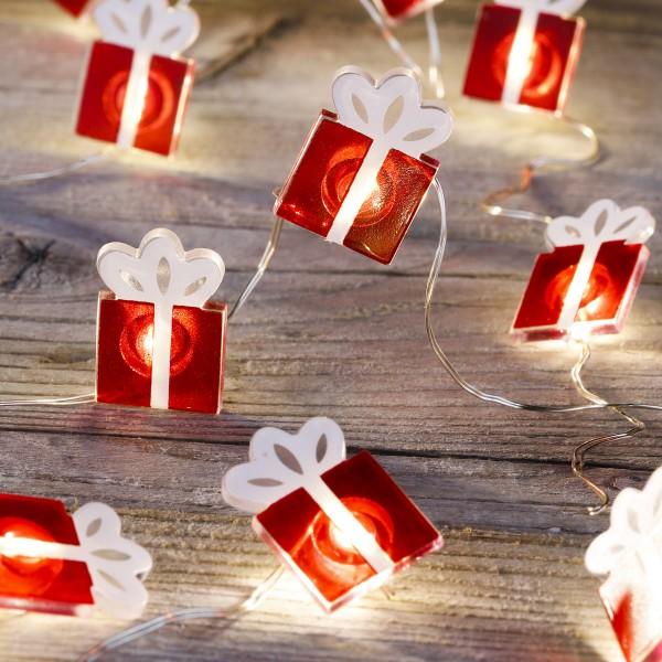 LED Drahtlichterkette mit leuchtenden Geschenken - 20 warmweiße LED - Batteriebetrieb - Länge: 1,9m