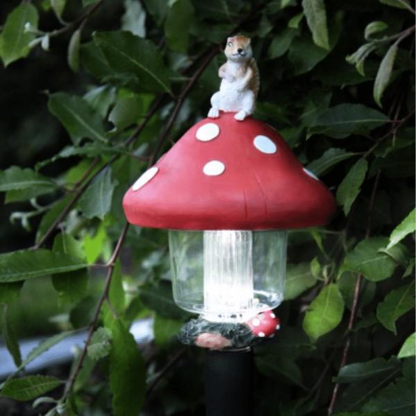LED Solar Pilzlaterne - kaltweiße LED - Höhe: 45cm, D: 16cm - Dämmerungssensor
