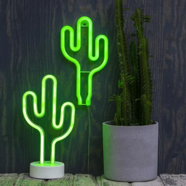 LED-Silhouette Neonlight grüner Kaktus - Wandmontage - 26,5cm x15cm - Batterie - Timer