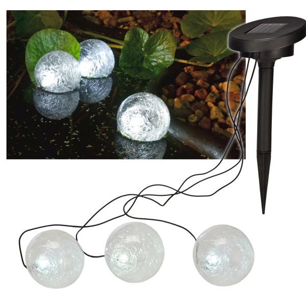 LED Solar Teichlampe - Kugelförmig - je 1 kaltweiße LED - D: 9cm - 3er Set