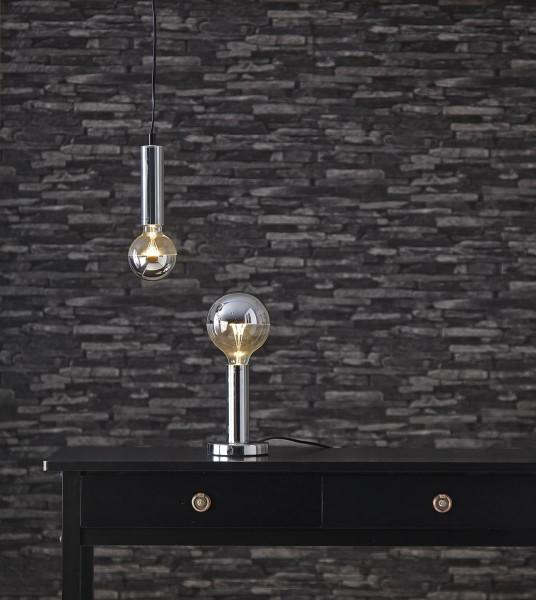 Lampenhalterung | GLANS | E27 | →12cm x ↑17cm | 180cm Kabel | Röhre lang | stehend | Silber/Chrom