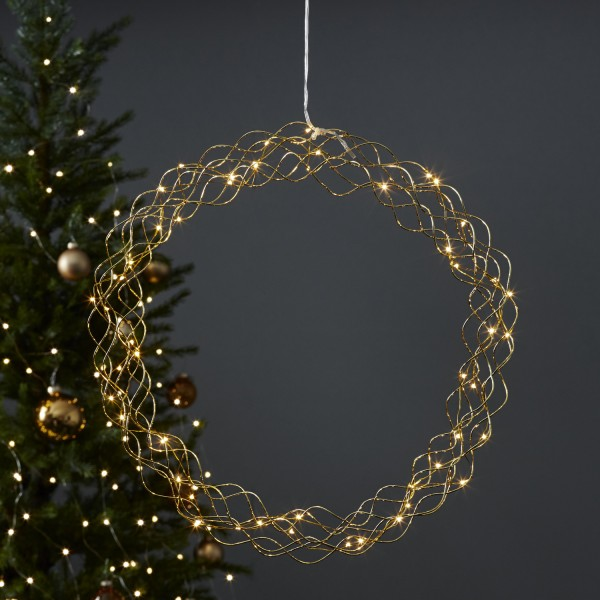 LED Lichtkranz Curly - 50 warmweiße LED - D: 45cm - Metall - gold
