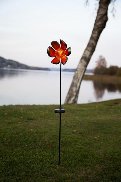 """LED-Solarstab """"Flora""""- schwarz - amber LED - Glaskugel in Blüte- H: 84cm - Dämmerungssensor"""