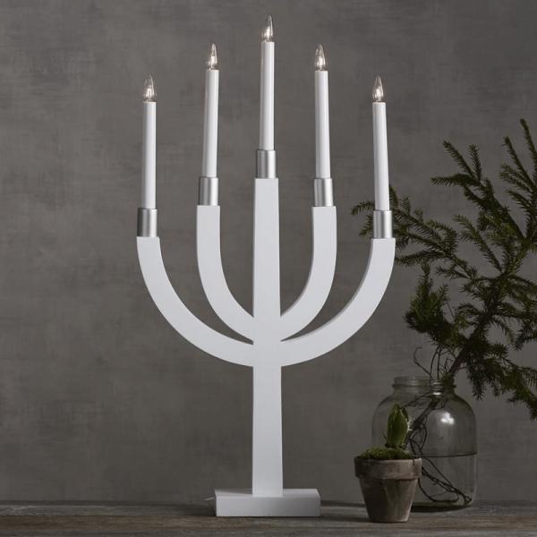 """Kerzenleuchter """"Elias"""" - 5 Arme - warmweiße Glühlampen - H: 67cm - Schalter - Hellgrau/Silber"""
