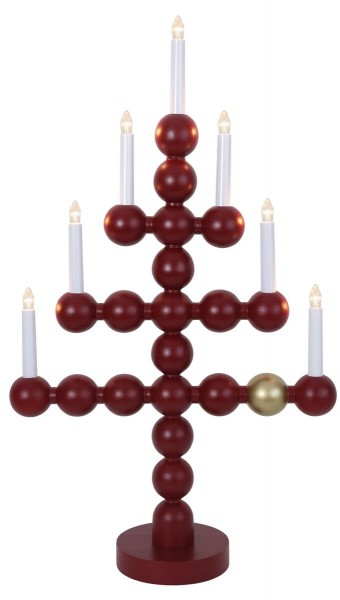 "LED-Kerzenleuchter ""Julkul"" - 7 Arme - warmweiße LEDs - H: 73cm, L: 43cm  - Schalter - Rot/Gold"