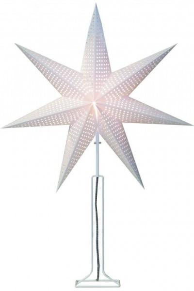 """Papierstern """"Huss"""" - 7-zackig - Ø 60cm, H: 85cm - stehend - E14 Fassung - inkl. Kabel - weiß"""