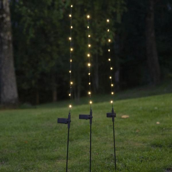 """LED-Solar-Ruten """"Flexy"""" - 3er Set - 10 warmweiße LEDs an dünnem Stab - H: 80cm - Dämmerungssensor"""