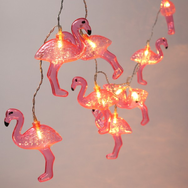 LED Lichterkette Flamingo - 10 pinke Flamingos - warmweiße LED - Batteriebetrieb - L: 1,35m - pink