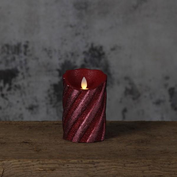 LED Kerze GLIM - Echtwachs - warmweiße LED - H:13cm D:8cm - Timer - Batteriebetrieb - weinrot