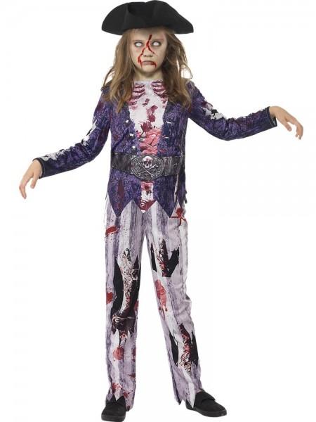 Halloween Piraten-Zombie Kostüm für Kids (4-6 Jahre) - Hose, Top, Piratenhut - elastisch