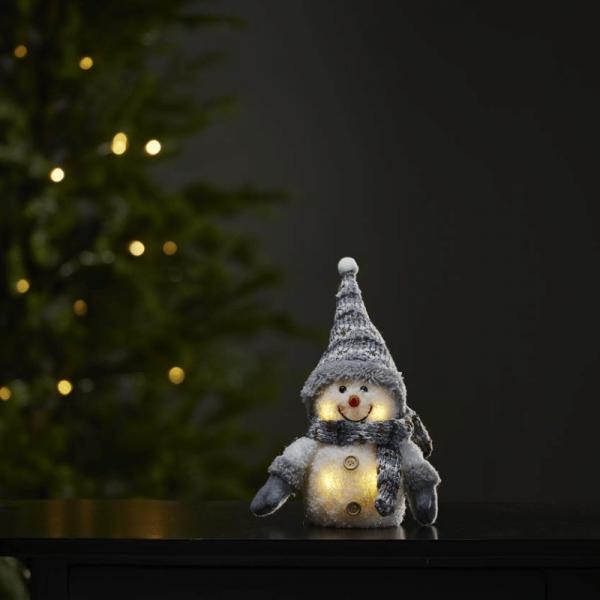 LED Stoff-Figur Schneemann - graue Mütze & Schal - 4 warmweiße LED - H: 25cm - Batteriebetrieb