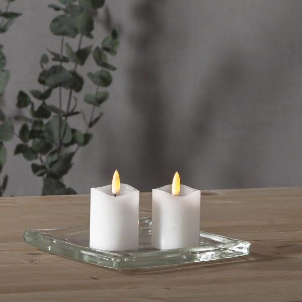 """LED Stumpenkerze """"Flamme"""" - Echtwachs - warmweiße Flamme - H: 7,5cm - Batterie inkl.-Timer - 2er Set"""
