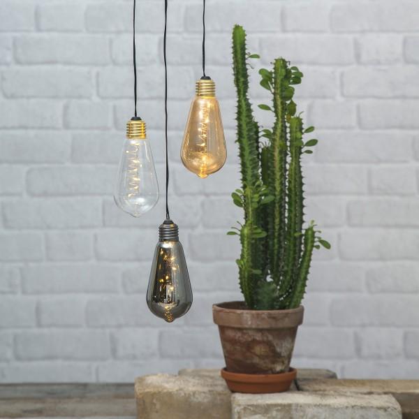 LED Dekoleuchte Glow - 5 warmweiße LED in klarer Glühbirne - H: 13cm - D: 6cm - Batterie - Timer