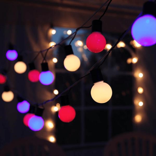 LED Partylichterkette - 20 bunte LED - L: 5,7m - grünes Kabel - outdoor - pastelfarben