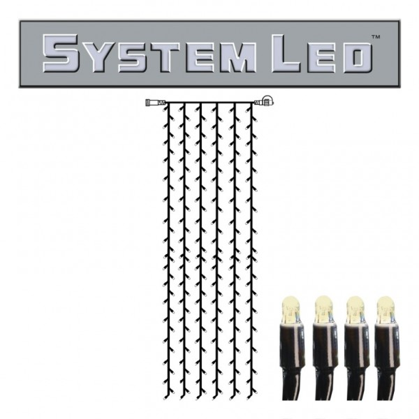 System LED Black | Lichtvorhang | koppelbar | exkl. Trafo | 1.00m x 4.00m | 204x Warmweiß