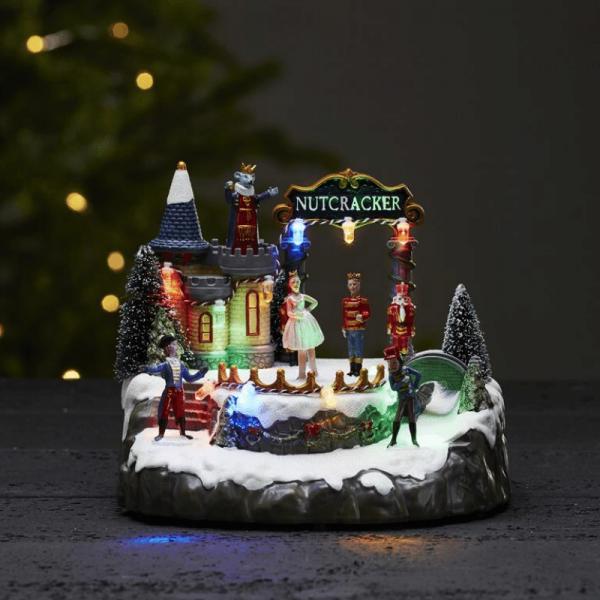 """LED-Weihnachtszene """"Nußknacker"""" - mit drehender Ballerina - 10 bunte LED - H: 20cm - Batteriebetrieb"""