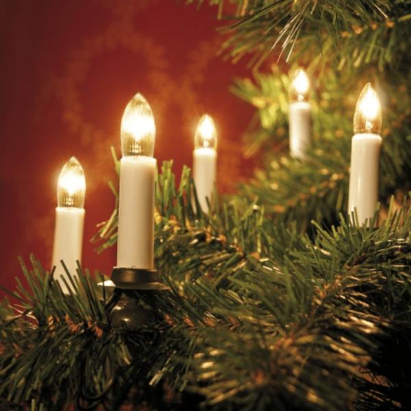 Kerzenkette - 25 warmweiße Kerzen - Indoor - Strang - E10 Fassung - H: 11cm, L: 12m - weiß