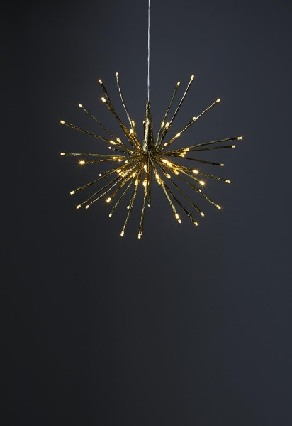 "3D-LED-Hängestern ""Firework"" - D: 40cm - golden mit 80 warmweißen LED - Programme - Outdoor"