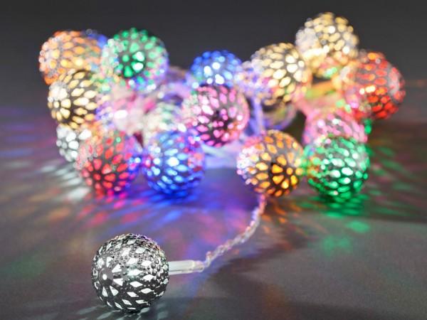 LED-Dekolichterkette - 2,00m - 21x Bunt - Ø 4cm - Silber - transparentes Kabel