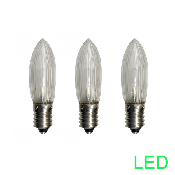 LED-Leuchtmittel |E10 | 10-55V | 0,2W | Warmweiß 2100K | klar | 3er Set
