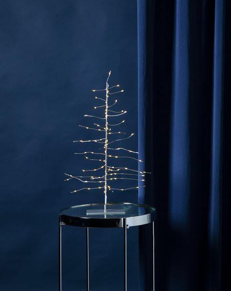 LED-3D Baum mit 80 warmweißen Tautropfen-LEDs - silberner Ständer - H: 45cm - Batterie - Timer