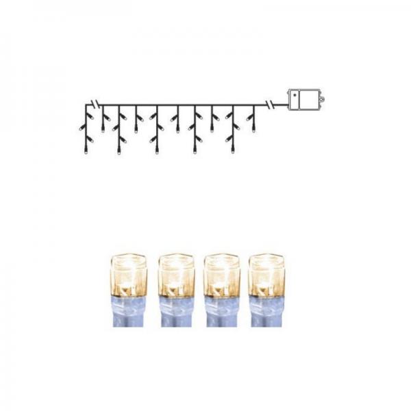 LED-Lichtervorhang - Dura Line IP44 - Batterie - Timer - 2,30 x 0,70m - 120x Warmweiß - Transparent