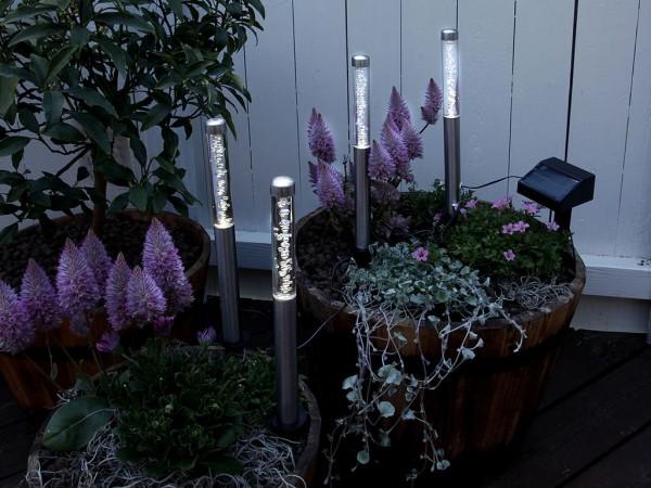 Wegleuchte - LED - Solar - Edelstahl - 29cm x 2cm - 4er Set