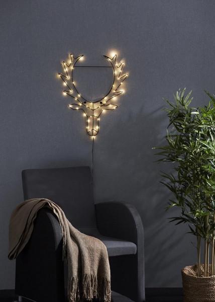 """LED-Design-Rentierkopf """"Cupid"""" - 50 warmweiße LED - H: 50cm, B: 42cm - zum Hängen - schwarzes Metall"""