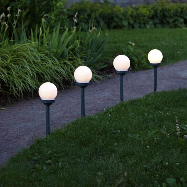 "LED Solar Wegleuchte ""Globus"" - warmweiße LED - H: 27cm - Dämmerungssensor - 4er Set"