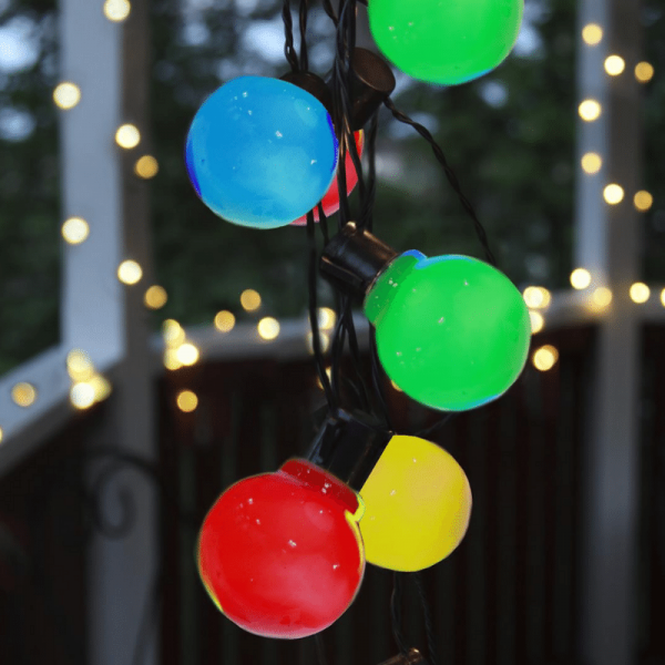LED Partylichterkette - 16x bunte LED - L: 4,5m - outdoor - schwarzes Kabel - bunt