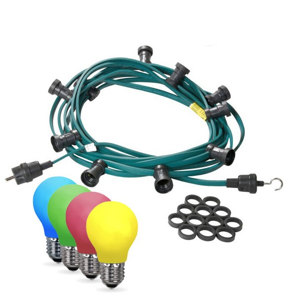 Illu-/Partylichterkette 20m - Außenlichterkette grün - Made in Germany - 30 bunte LED Tropfenlampen