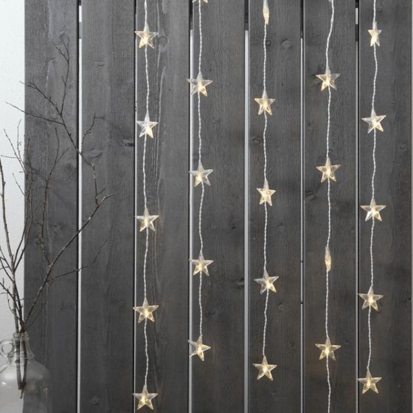 System DECOR   Stern-Vorhang   koppelbar   1,2x0,9m   weißes Kabel   30 warmweiße LEDs