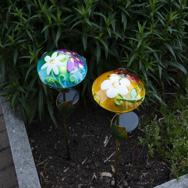LED Solarstab Glasschirm - mit Marienkäfer - gelb - kaltweiße LED - H: 44cm - Dämmerungssensor