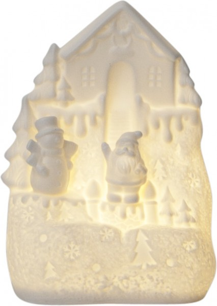 "LED-Haus ""Vinter"" - Santa am Haus - 1 warmweiße LED - ↑15,5cm"